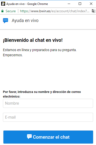 Bwin chat en vivo