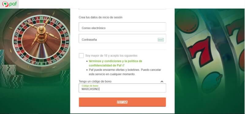 Formulario de registro con el Paf Código De Bono 2017