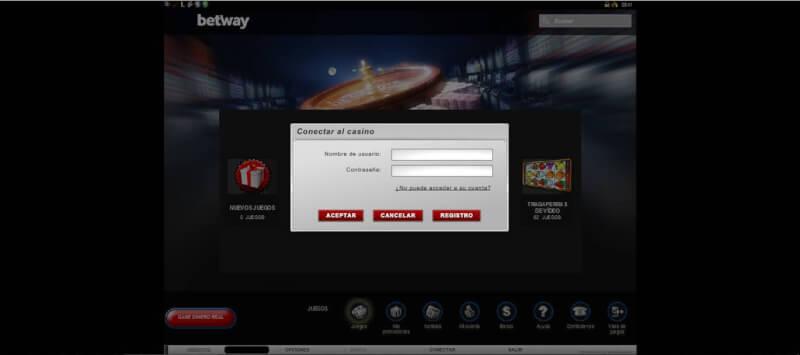 Pantalla de inicio de sesión en el casino de Betway