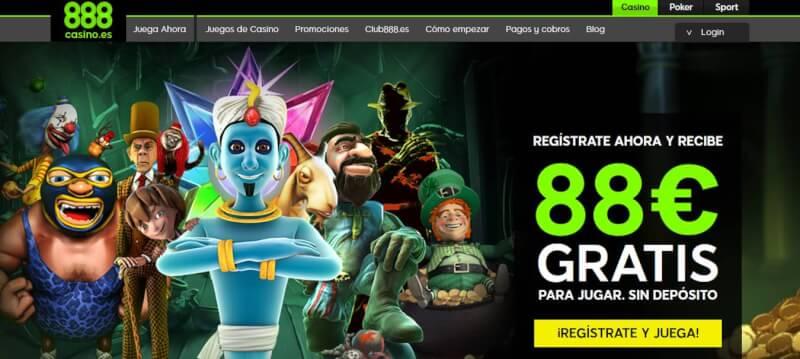 Página de inicio de 888Casino donde puedes ver su bono de bienvenida