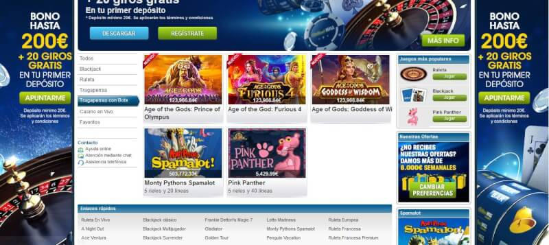 William Hill Casino suele tener varias tragaperras que superan los 100.000 € de bote