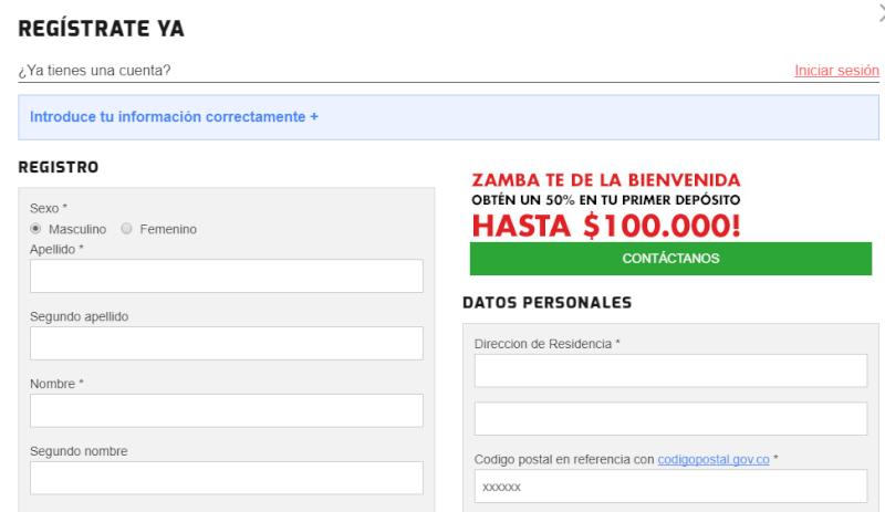 Zamba formulario de registro