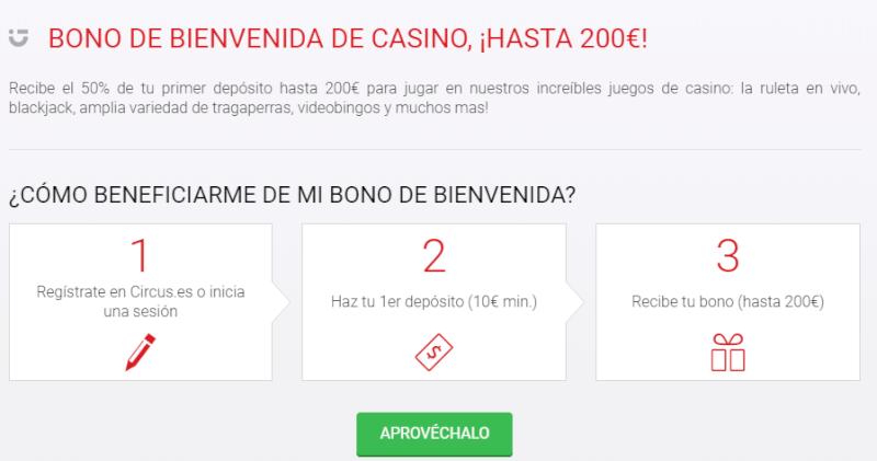 Código Promocional Circus Casino 2019